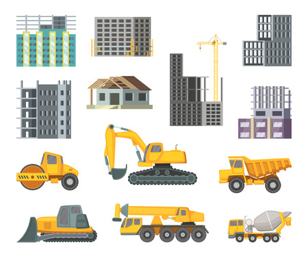 dumper: Big heavy yellow machines and modern buildings at construction stages. Unfinished home. Vector pictures in cartoon style