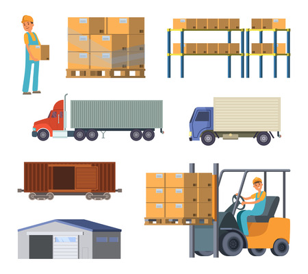 Warehouse and logistics processes. Worker with packages. Different specific cars Illustration