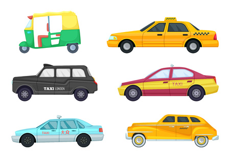 Taxi cars in different cities. Transport for fast traveling. Vector illustrations set