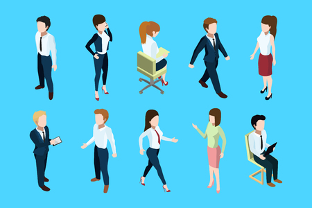 Different business peoples standing and sitting in office interior. 3d vector isometric illustration
