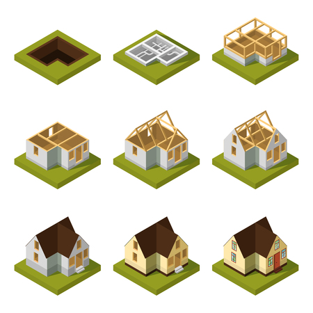 stage door: Visualization of modern building on different construction stages. Isometric construction urban building house vector illustration