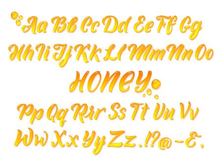 Alphabet latin mielleux liquide avec des éclaboussures d'or. Main qui écrit les lettres jaunes set vector