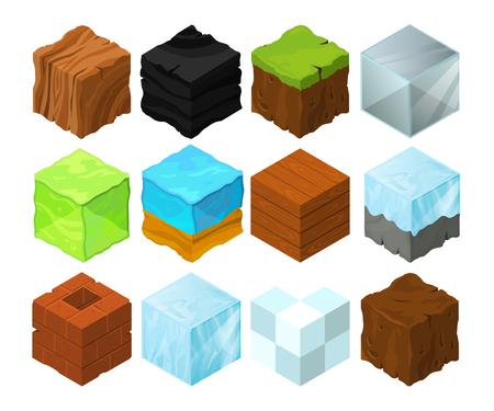 Cartoon texture illustration on different isometric blocks for game design