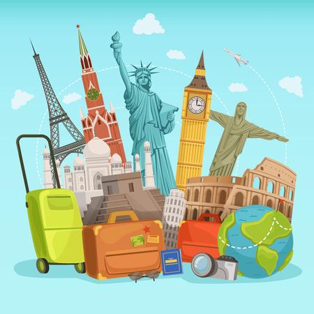 Travel poster design with different world landmarks. Vector illustrations Illustration