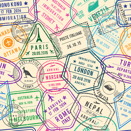 Vector seamless pattern of travel illustrations with stamps, visa and different documents for traveling