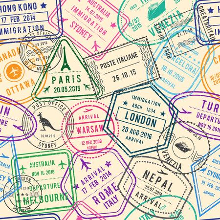 Vector naadloos patroon van reisillustraties met zegels, visum en verschillende documenten voor reizen