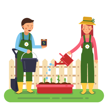 countryman: Woman and man working in garden. Different tools for farming and gardening. Vector characters in flat style
