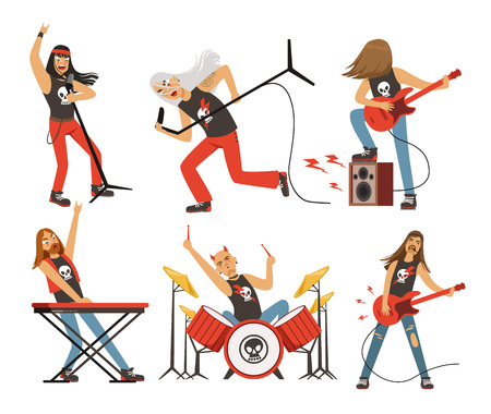 Funny cartoon characters in rock band. Musician in famous pop group. Vector mascot set Иллюстрация