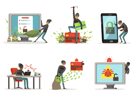 Ilustrações de desenhos animados de internet hackers. Rompendo diferentes contas de usuários ou sistemas de proteção bancária. Conceito de segurança, hacker com computador, ladrão na rede