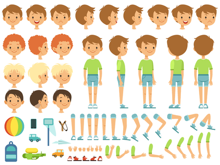 Funny cartoon boy creation mascot kit with children toys and different body parts. Character cute boy constructor, body part hand and leg. Vector illustration
