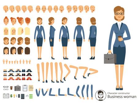 Personaje constructor de mujer de negocios. Ilustraciones vectoriales de dibujos animados de diferentes partes del cuerpo y elementos temáticos Foto de archivo - 82484250