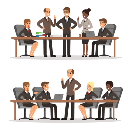 Business character at the table in conference hall. Man and woman in rich costume. Vector illustrations set
