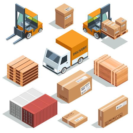 船荷証券、貨物と異なるボックス、およびパレットの等尺性産業機械。物流のイラスト