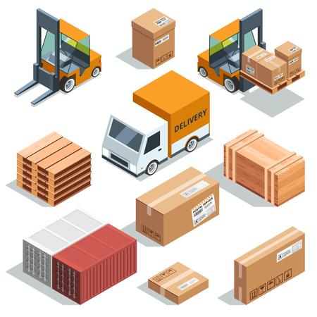 Isometrische industrie machine voor vracht, vracht en verschillende dozen en pallets. Logistieke illustraties