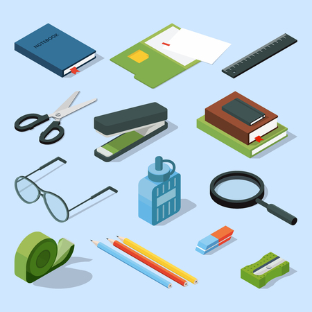 Books, paper documents in folders, and other base stationary elements set. Vector isometric office equipment Illustration
