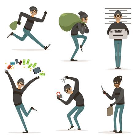 Différentes scènes d'actions avec bandit de bande dessinée. Mascotte de vecteur de voleur en action pose. Illustrations de vol ou de raid