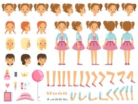Kit de creación de la mascota de la niña y algunos juguetes para niños. Vector constructor con divertidas emociones y diferentes partes del cuerpo.