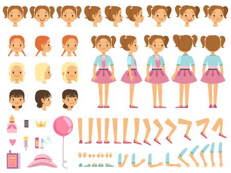 Maskottchen-Kreationssatz des kleinen Mädchens und einiger Kinderspielwaren. Vektorerbauer mit Spaßgefühlen und verschiedenen Körperteilen
