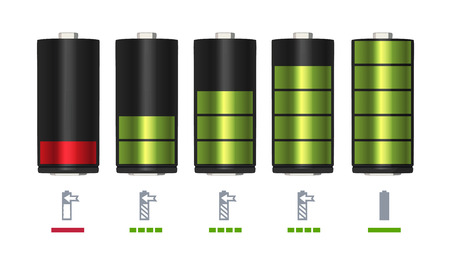 Process of recharging battery. Minimum and full charge. Vector illustration