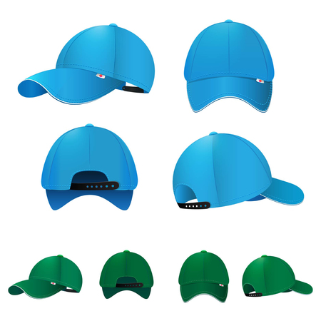 Blank baseball caps in different sides and colors. Vector illustration