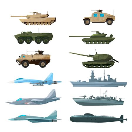 Naval vehicles, airplanes and different warships. Illustrations of artillery, battle tanks and submarine Stock Photo