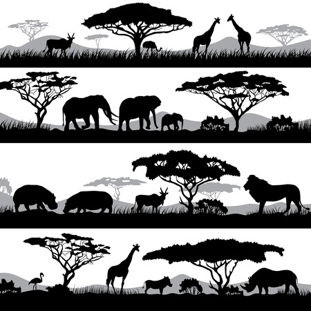 Wild african life. Background silhouettes of different animals and trees Illustration