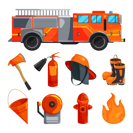 Protective clothing of fireman, boots, helmet, axe and other specific tools. Vector illustrations. Illustration