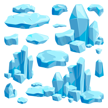 Broken pieces of ice. Game design vector illustrations in cartoon style. Çizim