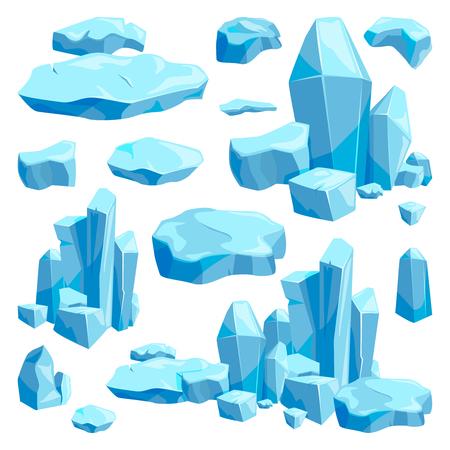 Broken pieces of ice. Game design vector illustrations in cartoon style. Vectores