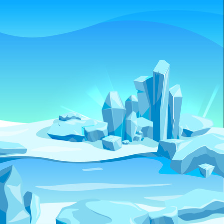 Frozen landscape with ice rocks. Cartoon background vector illustration.