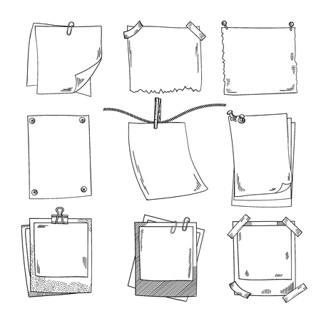 A Photo frames and different blank notepaper. Vector set of doodle pictures illustration. Illustration