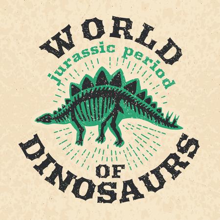 공룡의 화석 뼈의 빈티지 포스터입니다. 큰 해골