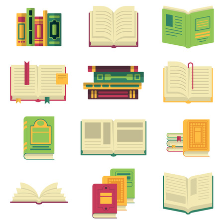 Opened and closed different books and magazines or encyclopedias. Vector pictures in cartoon style