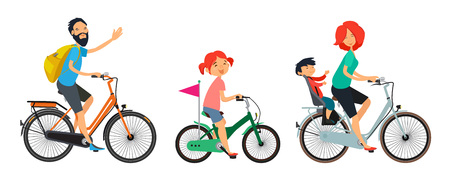 Family on bicycles walk. Male and female riding on bike