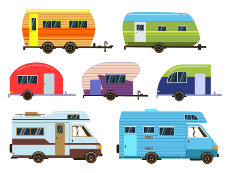 Campers cars set. Different resort trailers. Vector pictures in flat style Ilustração