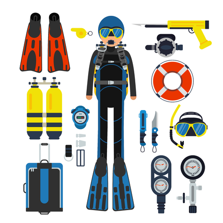 Equipment for underwater sport. Gas, scuba wetsuit and flippers Illustration