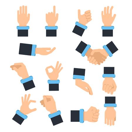 Main dans la main dans différentes poses d'action. Saisir, prendre et autre. Images de vecteur dans le style plat