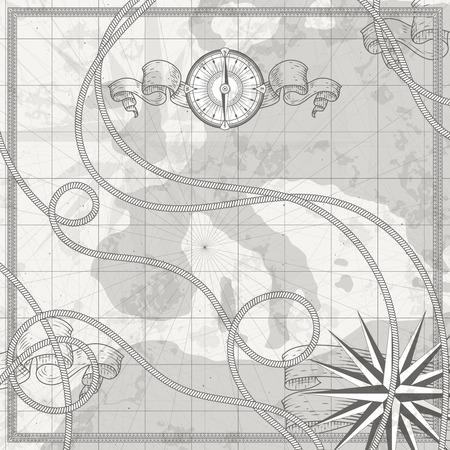 Mappa del mondo nautico antico su pergamena. Bussola, nastri e rosa dei venti illustrazioni vettoriali di simboli marini