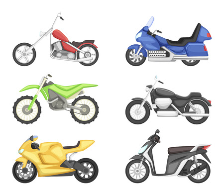 Different Types Of Motorcycles Vector Set Illustrations In Cartoon