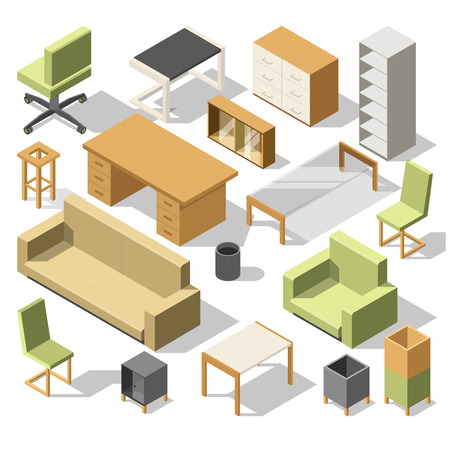 Isometric office furniture. 3d cabinet with table, chairs and armchair, sofa and shelves. Vector illustration set