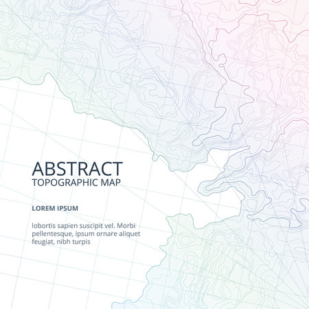 Vector poster design from lines contour topographic map. Abstract hills and different navigation elements