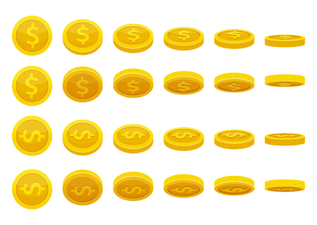 Different positions of golden coins. Vector illustrations in cartoon style Vettoriali