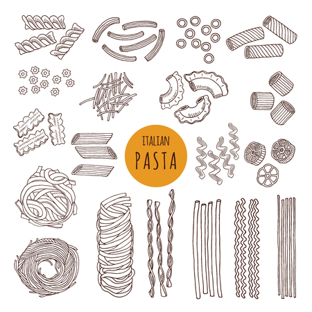 Different types of italian pasta. Hand draw vector illustrations