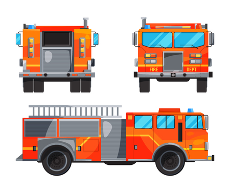 Different sides of fire truck. Specific professional car for fireman Stock Photo