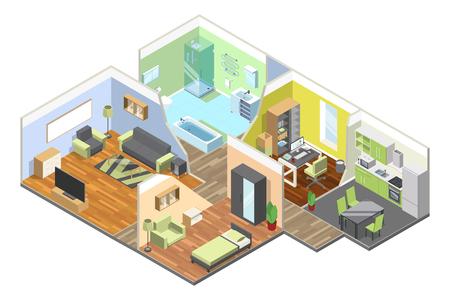 3d interieur van modern huis met keuken, woonkamer, badkamer en slaapkamer. Isometrische illustraties instellen Stock Illustratie