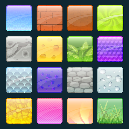 Cartoon buttons set with different textures. Vector elements for game design Stock fotó - 83554621