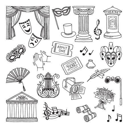 Doodle illustration set of theatre symbols. Lira, binoculars, masks. Opera vector icons