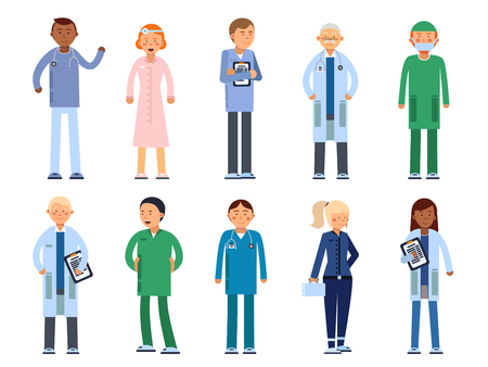 Healthcare people in hospital. Pharmacist, doctor, nurse and other medical characters