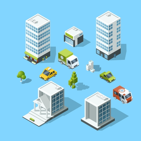 office building: Set of isometric cartoon-style buildings, trees and cars. Architecture template illustration