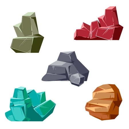 Set of rocks and crystals. Cartoon isometric 3D flat style